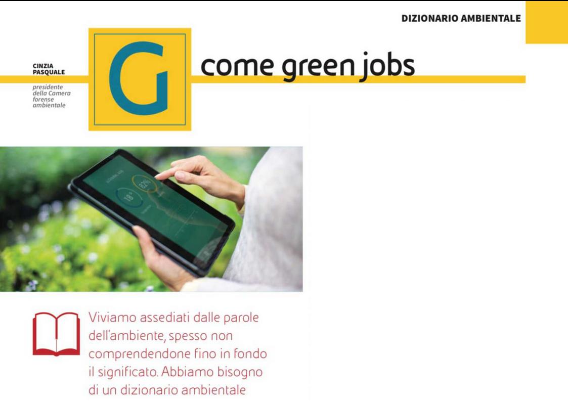 """G come Green Jobs su """"Orizzonti"""" di settembre 2020"""